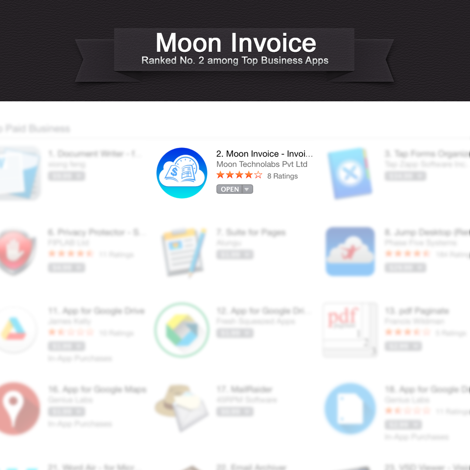Moon invoice for Mac OSX reaches 2nd position in App store in just Couple of weeks
