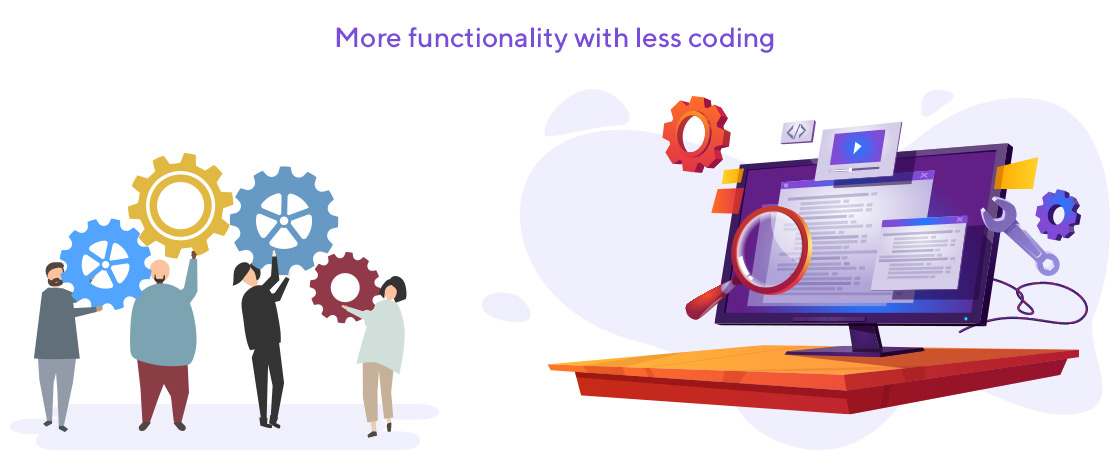 functionality with less coding